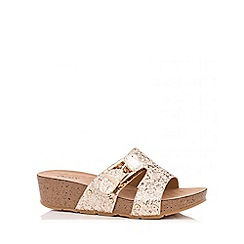 Quiz - Gold Glitter Thick Strap Mule Wedges