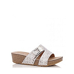 Quiz - Silver Glitter Thick Strap Mule Wedges