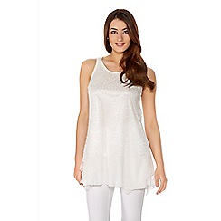 Quiz - Cream Lace Chiffon Hem Sleeveless Long Top