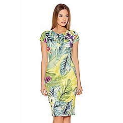 Quiz - Lime Tropical Print Bodycon Dress