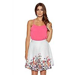 Quiz - White And Multicoloured Flower Print Skater Skirt