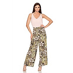 Quiz - Tropical Print Crepe Palazzo Trousers
