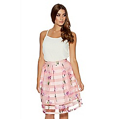 Quiz - Pink And Purple Mesh Stripe Flower Skirt