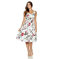 Quiz - Cream Floral Print Sleeveless Skater Dress