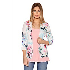 Quiz - Multicoloured Flower print 3/4 Sleeve Jacket