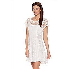 Quiz - Light Cream Stretch Lace Cap Sleeveless Dress