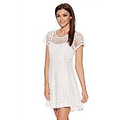 Quiz - Light Cream Stretch Lace Cap Sleeveless Dress