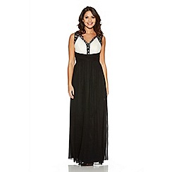 Quiz - Cream And Black Embellished Chiffon Maxi Dress