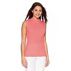 Quiz - Pink Ribbed Knit Sleeveless Turtle Neck Top