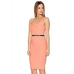 Quiz - Bright Coral Ribbed Bodycon Dress