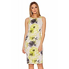 Quiz - Cream And Lime Floral Print Bodycon Dress