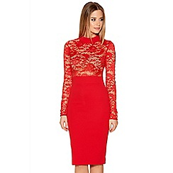 Quiz - Red Lace Long Sleeve Ribbed Midi Dress