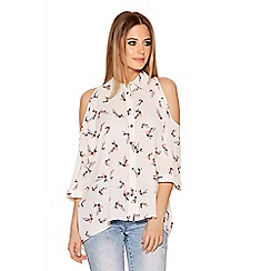 Quiz - Cream Bird Print Cold Shoulder Blouse