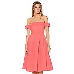 Quiz - Coral Ribbed Bardot Flare Skater Dress
