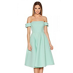 Quiz - Mint Ribbed Bardot Flare Skater Dress