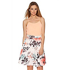 Quiz - Cream and Coral Flower Print Skater Skirt