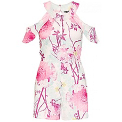 Quiz - Cream And Pink Oriental Floral Bardot Playsuit