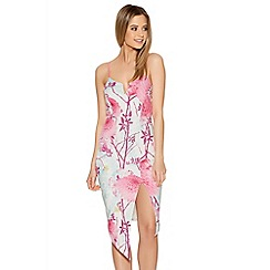 Quiz - Cream And Pink Oriental Print Bodycon Dress