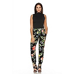 Quiz - Black Flower Print Harem Trousers