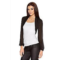 Quiz - Black Chiffon Bubble Long Sleeve Jacket