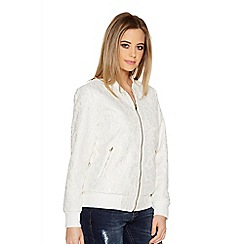 Quiz - Cream Lace Bomber Jacket