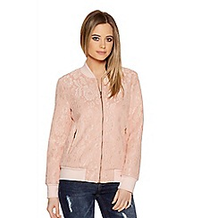 Quiz - Pale Pink Lace Bomber Jacket