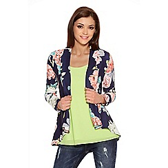 Quiz - Navy And Coral Flower Print Waterfall Jacket