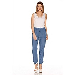 Quiz - Light Denim Tie Waist Harem Trousers