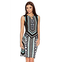 Quiz - Black And Aqua Aztec Midi Dress