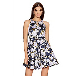 Quiz - Navy And Purple Flower Cut Out Skater Dress