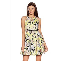 Quiz - Yellow Flower Cut Out Skater Dress