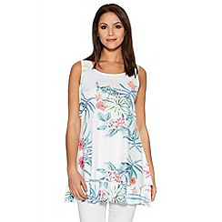 Quiz - White Flower Print Diamante Layer Hem Vest
