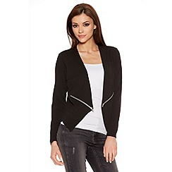 Quiz - Black Crepe Zip Detail Jacket
