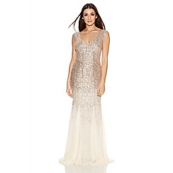 Quiz - Champagne V Neck Chiffon Fishtail Maxi Dress