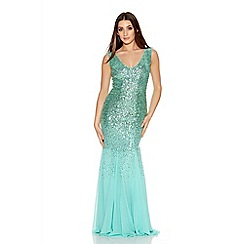 Quiz - Green V Neck Chiffon Fishtail Maxi Dress