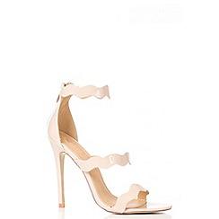 Quiz - Nude Patent Strap Sandals
