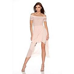 Quiz - Pink Glitter Lace Bardot Chiffon Hem Dess