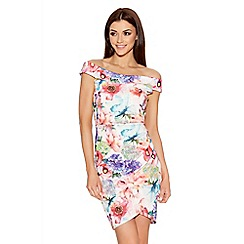 Quiz - Cream Flower Print Bardot Dress
