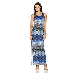 Quiz - Blue And Black Tile Print Split Side Maxi Dress