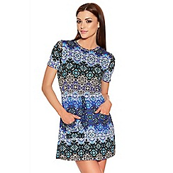 Quiz - Blue And Black Tile Print Tunic Dress