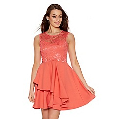 Quiz - Coral Lace Layer Skater Dress
