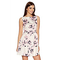Quiz - Cream And Pink Floral Sleeveless Skater Dress