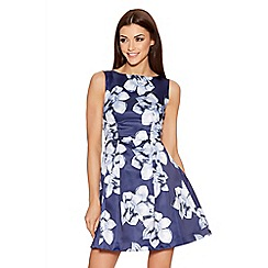 Quiz - Navy And Blue Floral Sleeveless Skater Dress