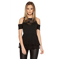 Quiz - Black Lace Cold Shoulder Peplum Top