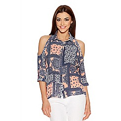Quiz - Coral And Navy Tile Print Cold Shoulder Top