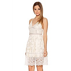 Quiz - Cream And Gold Lace Strap Skater Dress