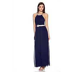 Quiz - Navy Chiffon Diamante Neck Maxi Dress