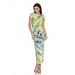 Quiz - Lime Tropical Print Split Side Maxi Dress