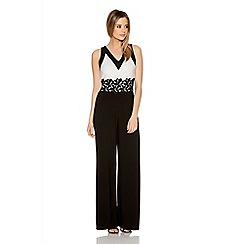 Quiz - Cream And Black Lace Trim Palazzo Jumpsuit