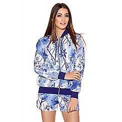 Quiz - White And Blue Crepe Flower Print Bomber Jacket.